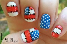 Patriotic Patchwork - Blue is China Glaze Sky High Top  Red is Color Club Sexsea  Black is Wet N Wild Black Creme  White is Sally Hansen Insta-Dri in Whirlwind White