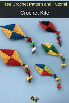 Free Crochet Pattern - Crochet Kite - - Get this free crochet pattern of a crochet kite applique. This and many other crochet patterns are available on my website, Kerri's Crochet. Crochet Applique Patterns Free, Crochet Flower Patterns, Crochet Motif, Crochet Flowers, Free Crochet, Crochet Appliques, Crochet Embellishments, Potholder Patterns, Amigurumi Patterns