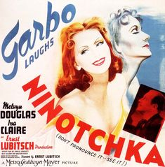 Ninotchka, hilarious romantic comedy in which a clueless Russian Communist commissar, played by Greta Garbo, is sent to Paris to rein in a party member who has been a little too seduced by the City of Light. Soon she, too, is deviating from the party line with the gent she was supposed to bring to heel. This is froth with substance, made delightfully by Ernst Libitsch. My father, an early outlier both to join and leave the CP, adored this film...