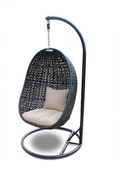 Outdoor Harmonia Living Nimbus Resin Wicker Hanging Basket Chair with Optional Stand Hanging Egg Chair, Swinging Chair, Hanging Baskets, Hanging Beds, Hammock Chair, Diy Hanging, Chair Cushions, Nest Chair, Patio Chairs