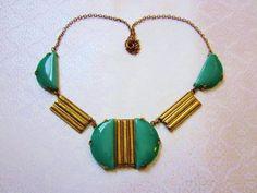 Art Deco Necklace Chrysophrase Green Glass Cabochons Gold Brass Vintage 1920s Necklace. $90.00, via Etsy.