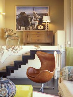 KF Portfolio Image Portfolio Images, Dark Walls, Moorish, Egg Chair, Contemporary Interior, Accent Colors, Home Decor Inspiration, Boho Decor, Modern