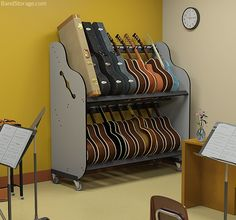 Guitar Storage Carts For Music Classrooms. Details at https://bandstorage.com/classroom-guitar-storage/