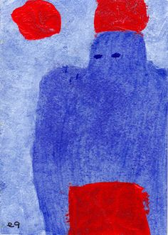 red phenomenon e9Art ACEO Abstract Figurative Outsider Art Brut Painting Original OOAK
