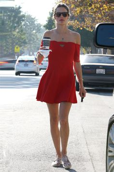 Red Dress Street Style Alessandra Ambrosio