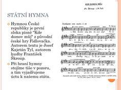 Výsledek obrázku pro státní hymna Sheet Music, Math Equations, Music Sheets