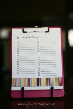 eighteen25: printables // birthdays. Monthly printable list of birthdays