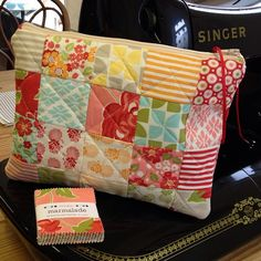 Finished - 1 marmalade mini charm pack with no waste, bit of wadding - calico to line - bazinga! by patch fabrics, via Flickr