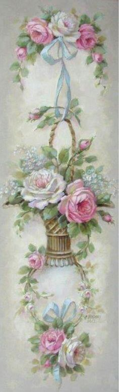 decopodge Christie Repasy Les Fleurs Panel Canvas Giclee, featuring a ribbon hanged basket with roses, this canvas print is an original painting by Christie Repasy. Vintage Rosen, Art Vintage, Vintage Cards, Vintage Prints, Pintura Shabby Chic, Shabby Chic Painting, Art Floral, Vintage Pictures, Vintage Images