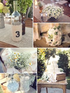 Great details for a rustic-style shindig. Love the burlap and the little wild daisies!