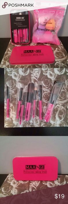 makeup mini brush set with mini beauty sponges manage professional mini makeup brush set comes in cute pink tin seven brushes in all plus a four piece mini makeup blenders natural sponges the tin is 5×3 pefect for Purse or travel or even everyday no trades price firm unless bundled Makeup Brushes & Tools