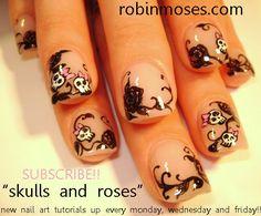 rose nail art | nails, retro skulls pink and black rose nail art, summer camp out ...