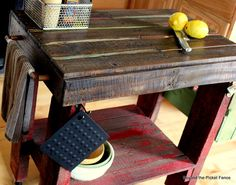 Pallet Kitchen Island #Pallets #DIY  Lengthen the table and add hooks underneath to hang pots and pans.