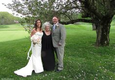 Officiant Zita Christian with newlyweds Katie and Matt at the Redding Country Club in Redding CT
