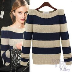 Cheap sweater blouse, Buy Quality sweater pullover directly from China sweater storage Suppliers: New Autumn Stripe High Quality Women Sweater Fashion 2014 European and American Style Winter Ladies Loose Long Sleeve P