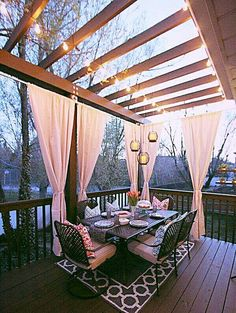 Beautiful intimate outdoor pergola over deck.