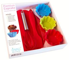 OvalPop Premium Silicone Cupcake Baking Set with Nonstick Cupcake Liners, Our Silicone Bakeware is Easy Cleanup, Includes 6 Cupcake Molds, Whisk, Brush, Spatula and Hot Pad, 10 Piece >>> Get more discounts! Click the pin : Baking Accessories