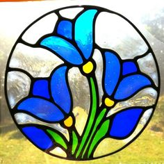 Flower Gardens Stained Glass Patterns | blue tulip circle flower Suncatcher window sticker decal stained glass ...