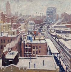 Up Broadway Snow Storm New York City. 14x14 Realist Oil