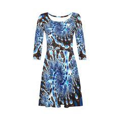 Blue White Frax Fractal Art 3 3/4 Sleeve Sundress (D23)