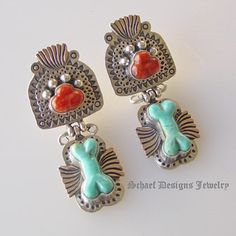 Schaef Designs Apple Coral Paw print & turquoise dog bone clip earrings   Schaef Designs artisan handcrafted Jewelry   San Diego CA