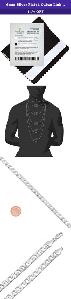 """6mm Silver Plated Cuban Link Curb Chain Necklace, 40"""". Featuring perfectly flat and aligned links that resist kinking and knotting, this 6mm silver plated Cuban link curb chain necklace is a fashion essential. Wear it alone, pair it with your favorite pendant or stack it with other chains for a unique look. Lobster clasp. Silver plated. Product of Korea."""