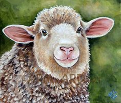 Original Fine Art  Sheep painting by Laura Carey by farmyardart