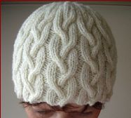 Knitting pattern for an 8ply, plaited cable beanie.