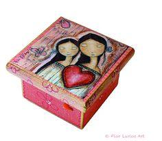 Un Solo Corazón  Mother Daughter Love   Original by FlorLarios, $25.00