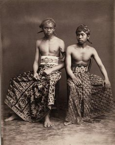 """Two young men from Yogyakarta, 1890-1910, from """"FIVE CENTURIES OF INDONESIAN TEXTILES."""""""