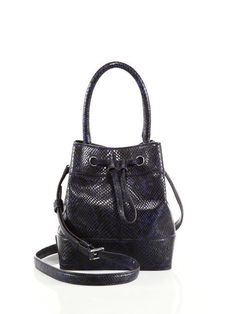 NWT Tory Burch Navy Blue Padlock Snake Embossed Leather Mini Bucket Bag New $525 #ToryBurch #ShoulderBag