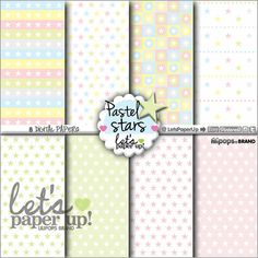 Digital paper, Pastel Stars, Instant Download, Scrapbook supplies, Printable, Background Stars, Kawaii, Kawaii Stars, Paper, Scrapbooking Let's Paper Up - Lilipops - Etsy