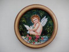 Ангел, Масло, оргалит.      10 см.