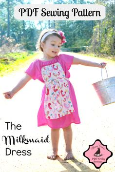 Download Milkmaid Peasant Dress PDF Sewing Pattern nb-12 girls Sewing Pattern | Whimsy Couture | YouCanMakeThis.com