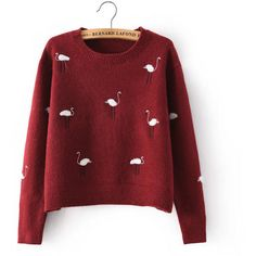 Ostrich-Embroidered Cropped Sweater (50 NZD) ❤ liked on Polyvore featuring tops, sweaters, embroidery top, embroidered sweaters, red sweater, red cropped sweater and red top