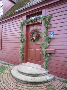 Pretty colonial decorated for holidays.