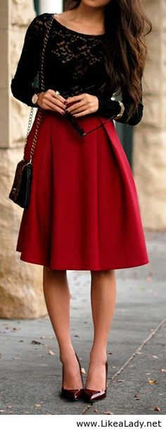 Burgundy look- love this skirt.. color and style!  Perfect... classy!
