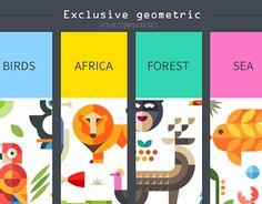 Magic animal world, geometric flat