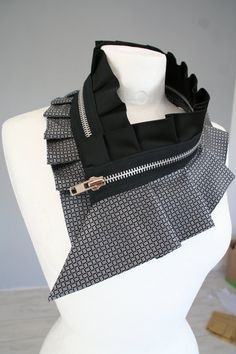 Black collar necklace silk and zipper collar for woman by Bartinki, $69.00