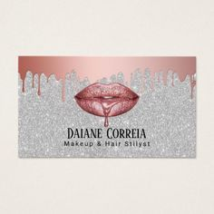 Shop Makeup Artist Rose Gold Dripping Lips Silver Business Card created by cardfactory. Business Logo, Business Card Design, Up Imagenes, Dripping Lips, Lip Wallpaper, Makeup Artist Logo, Lashes Logo, Makeup Artist Business Cards, Beauty Logo