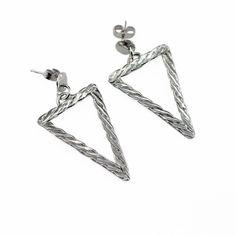 Sterling Silver Triangle Earrings, Woven Triangle Earrings, Silver Dangle Earrings, Drop Earrings, Geometric Earrings,OOAK Earrings by WovenArtJewellery on Etsy