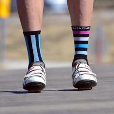 Black Assym Stripe Socks (Blue/Rouge)  $16
