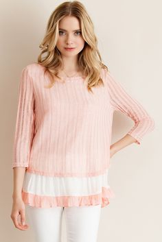 Solid cut and sew ribbed tuinc top with crinkle ruffled hem. Will ship in two weeks!! Sizes: Small, Medium and Large! #khakicotton #spring #peach #mint # tunic | Shop this product here: spreesy.com/khakicottonfashions/246 | Shop all of our products at http://spreesy.com/khakicottonfashions    | Pinterest selling powered by Spreesy.com