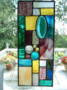 Stained Glass Teal Green Prairie Sun Catcher Panel via Etsy