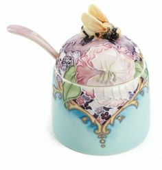 """Old Tupton Ware Amethyst Bouquet Honey Pot 3"""" Hand Painted"""