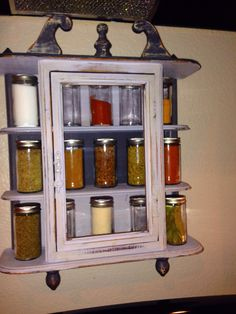 Chalk painted vintage curio cabinet, repurposed to spice rack!