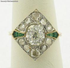 Antique-art-Deco-82-Carat-Cushon-Cut-Diamonds-Emerald-18k-Yellow-Gold-Ring