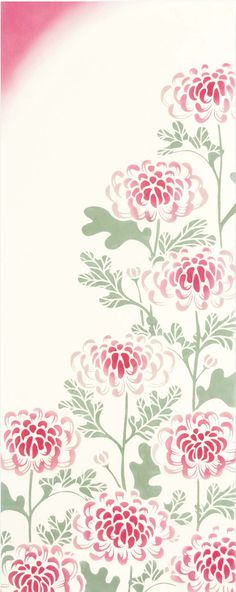 Japanese Tenugui Cotton Fabric, Chrysanthemum Blossom, Floral Fabric, Flower…