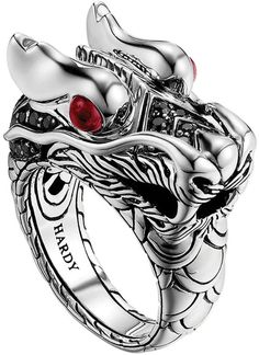$795, Silver Ring: John Hardy Dragon Head Ring. Sold by Neiman Marcus. Click for more info: https://lookastic.com/women/shop_items/133198/redirect