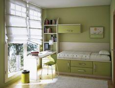 kleines bett und schreibtisch in grün fürs kinderzimmer - Kinderzimmer Einrichtung – 29 auffällige Ideen